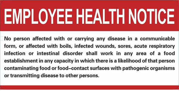SIGNS Restaurant/Food Facility Employee Health Notice Sign