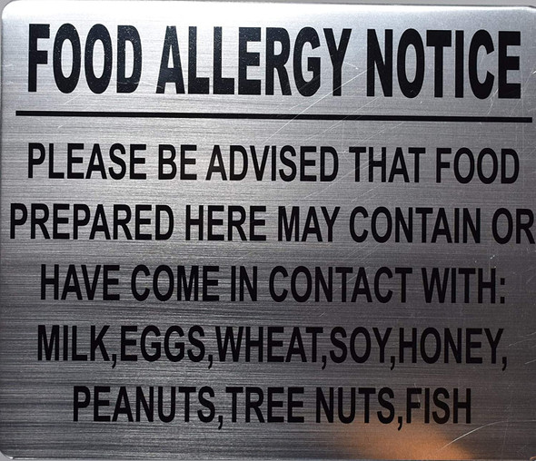 FOOD ALLERGY NOTICE PLEASE BE ADVISED THAT FOOD PREPARED HERE MAY CONTAIN OR HAVE COME IN CONTACT WITH: MILK, EGGS, WHEAT, SOY, HONEY, PEANUTS, TREE NUTS, FISH SIGN