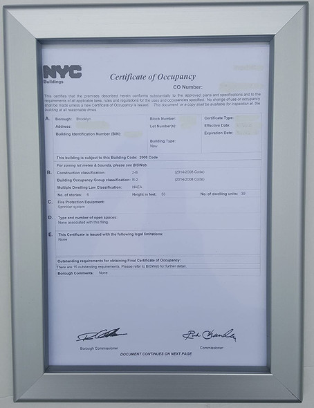 Certificate of Occupancy Frame