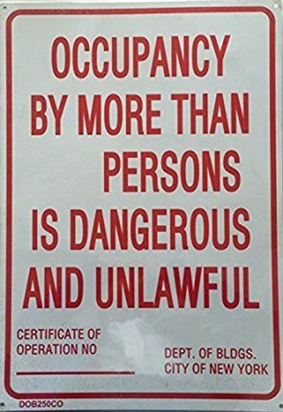 NYC Occupancy Sign (White,Reflective, Aluminium 14X22