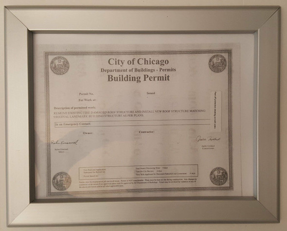 CITY OF CHICAGO BUILDING PERMIT FRAME