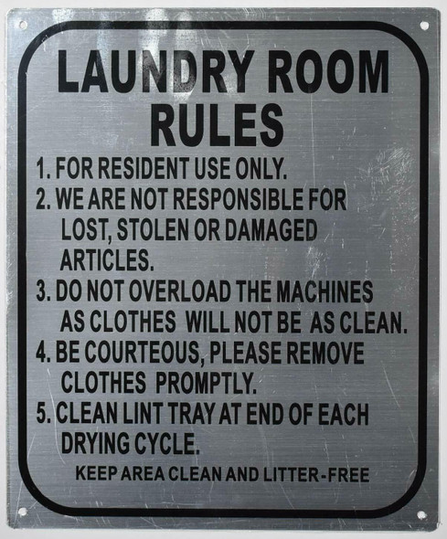 Fire Department Sign- Laundry Room Rules