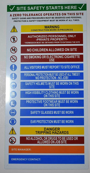 Sign SITE Safety Starts Here
