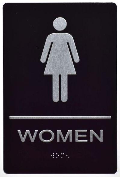WOMEN Restroom Sign Tactile Signs (BLACK,