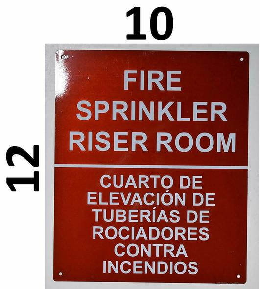 SIGNS FIRE Sprinkler Riser Room Bilingual Sign