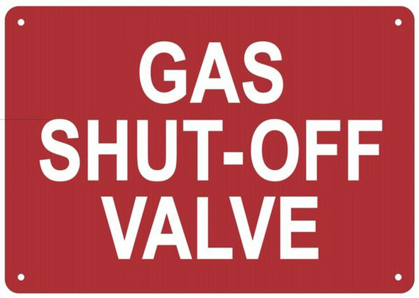 Fire Safety Sign- Sign  Compliance Sign- Fire Department Sign- GAS SHUT-OFF VALVE