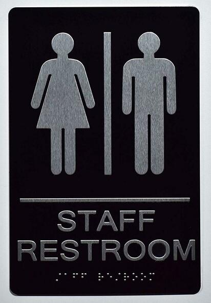STAFF Restroom Sign 6X9 ADA Tactile