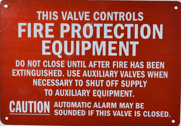 FIRE PROTECTION EQUIPMENT SUPPLY CONTROL VALVE SIGN