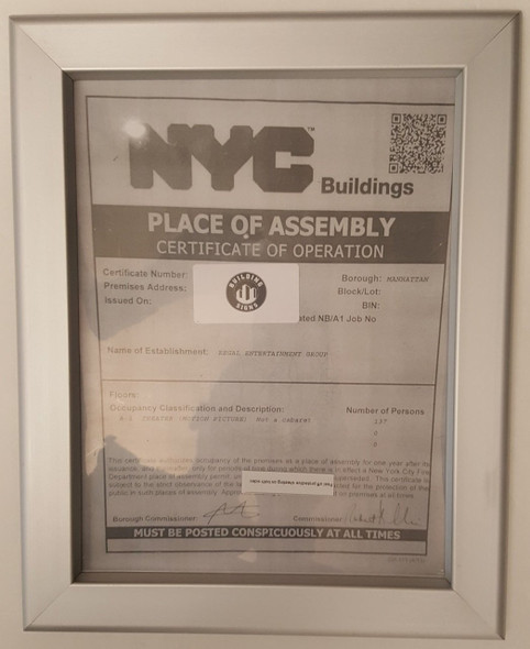 NYC place of assembly certificate of