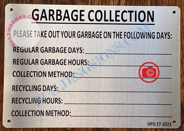 GARBAGE COLLECTION SIGN