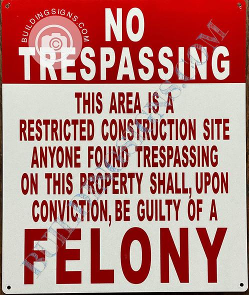 Signage No trespassing Construction site