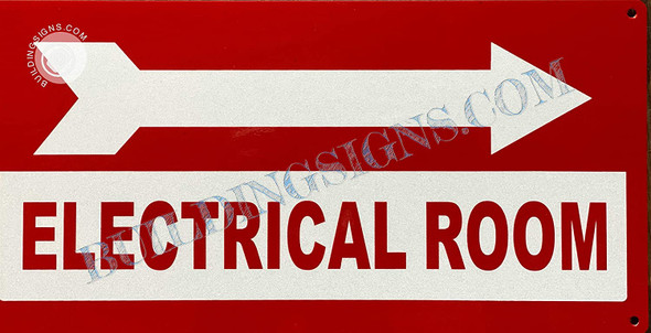 Sign Electrical Room  Right Arrow