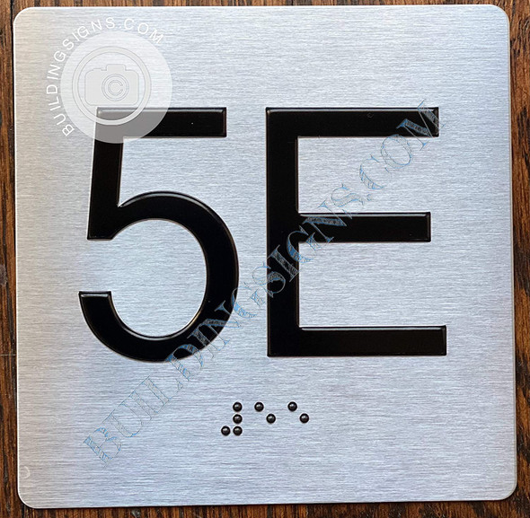 Apartment Number 5E Signage with Braille and Raised Number