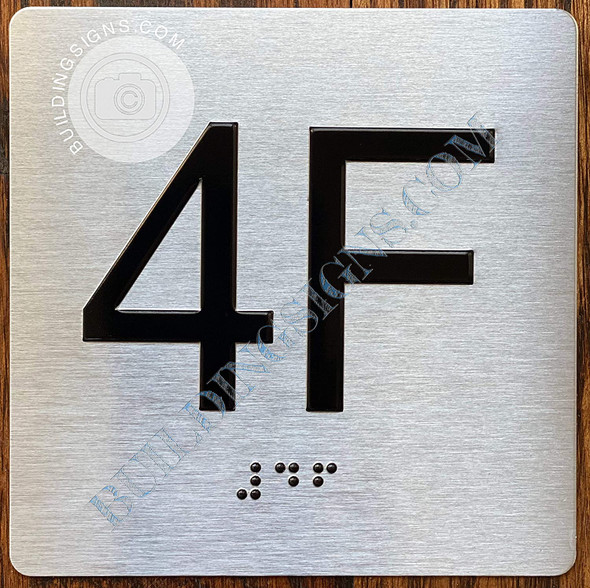 Signage Apartment Number 4F  with Braille and Raised Number