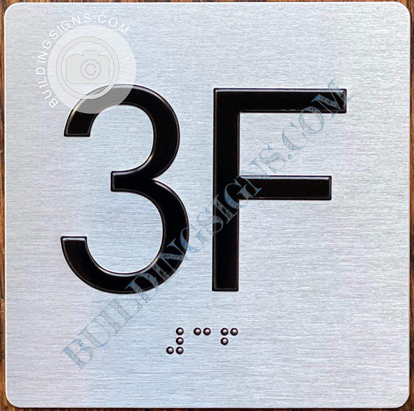 Sign Apartment Number 3F  with Braille and Raised Number