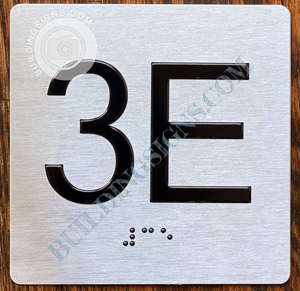 Signage Apartment Number 3E  with Braille and Raised Number