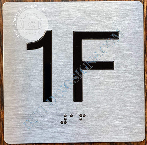 Sign Apartment Number 1F  with Braille and Raised Number