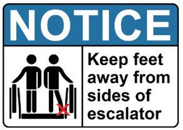 Signage Keep FEET Away from Sides of Escalator