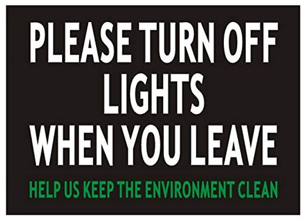 2 pcs -Please Turn Off Lights When You Leave Sign