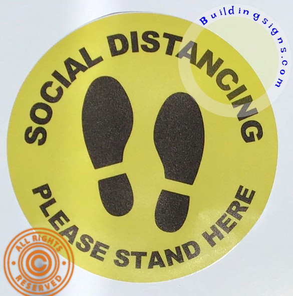 10 Pack -Social DISTANCING - Please Stand HERE Sticker Sticker