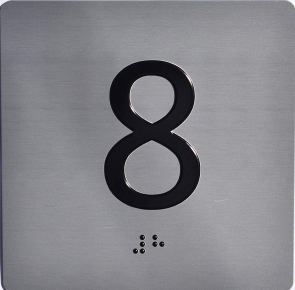 Apartment Number 8 Sign with Braille and Raised Number
