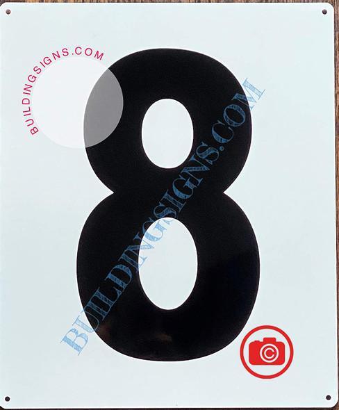 Large Number 8 Sign -Metal Sign - Parking LOT Number Sign