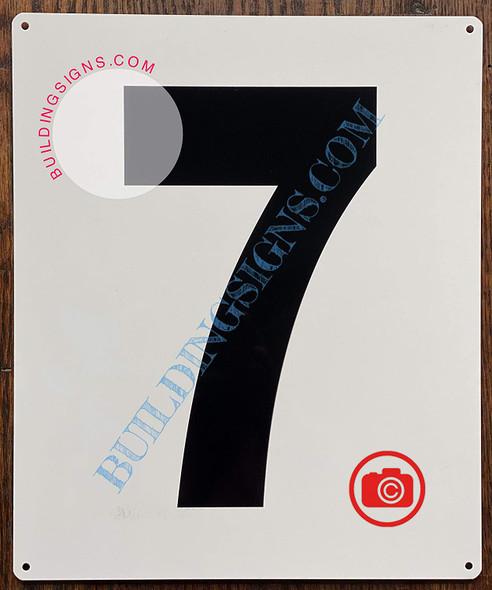 Large Number 7 Sign -Metal Sign - Parking LOT Number Sign