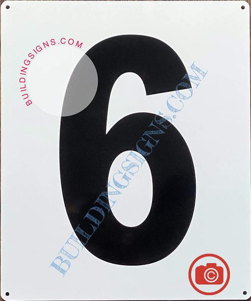 Large Number 6 Sign -Metal Sign - Parking LOT Number Sign