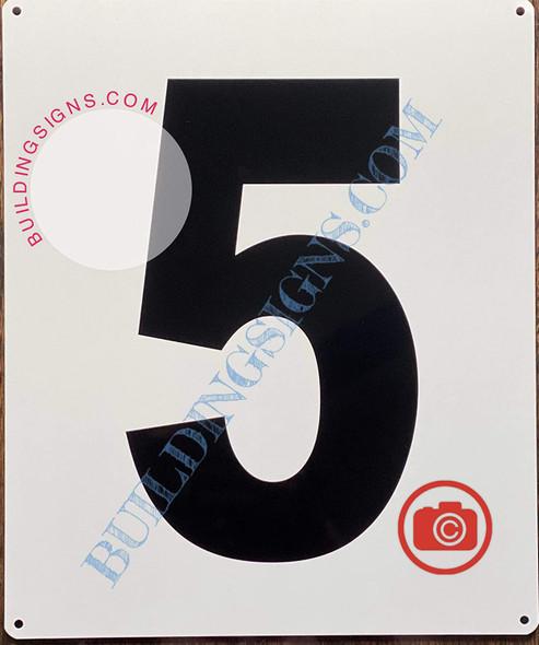 Large Number 5 Sign -Metal Sign - Parking LOT Number Sign