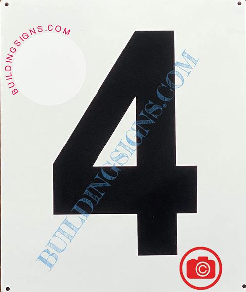 Large Number 4 Sign -Metal Sign - Parking LOT Number Sign