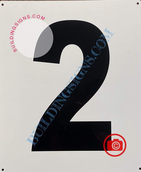 Large Number 2 Sign -Metal Sign - Parking LOT Number Sign