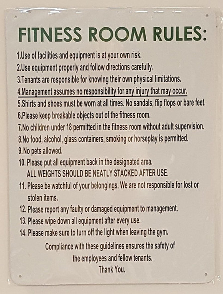 SIGNS FITNESS ROOM RULES SIGN- WHITE BACKGROUND