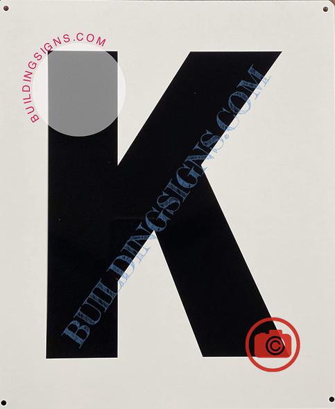 Large Letter K -Metal Sign - Parking LOT Sign