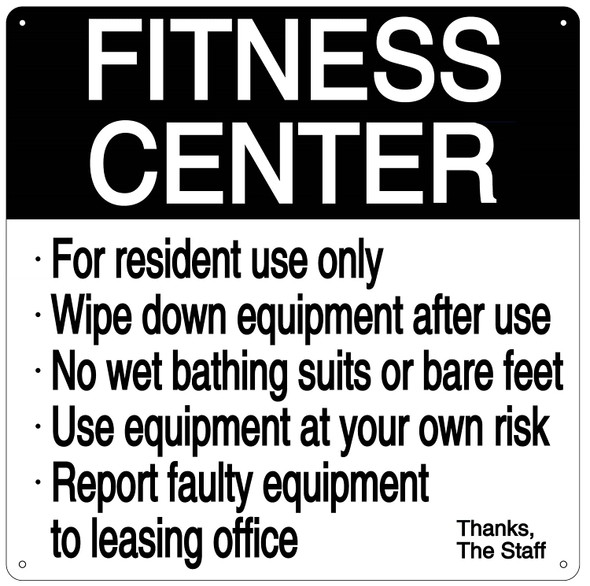 SIGNS FITNESS CENTER RULES SIGN (white, ALUMINUM