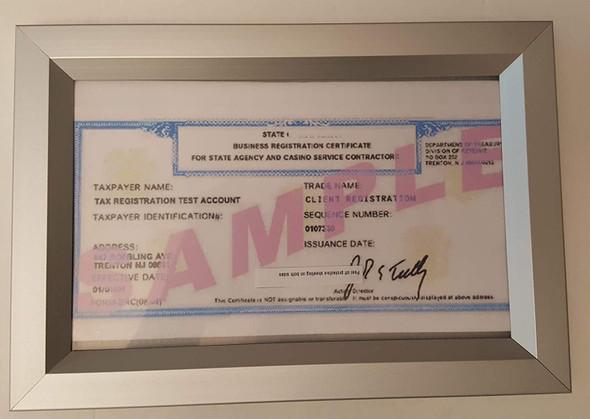 Business Registration Certificate Frame