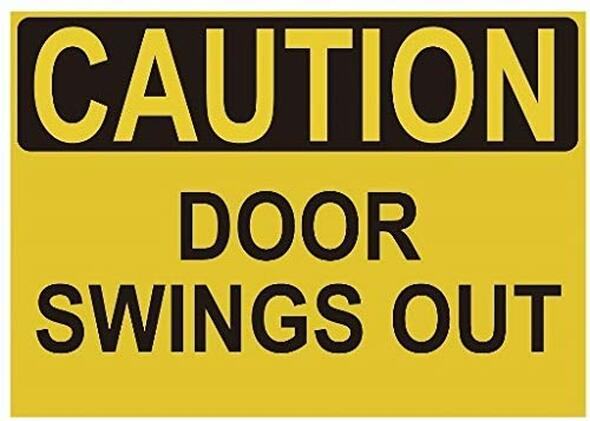 Caution Door Swings Out Label Decal Sticker