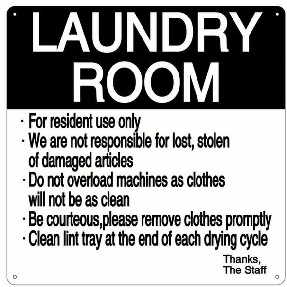 LAUNDRY ROOM RULES SIGN – WHITE