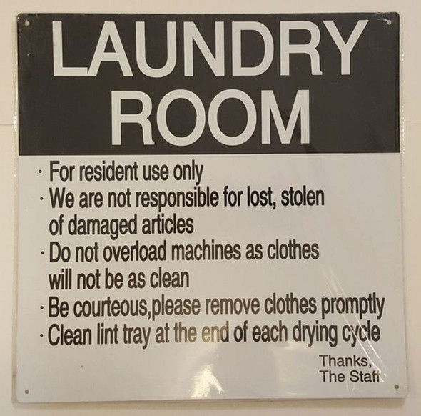SIGNS LAUNDRY ROOM RULES SIGN – WHITE