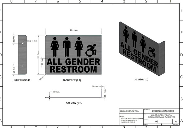 All Gender ACCESSABLE Restroom Projection - All Gender ACCESSABLE Restroom Singange