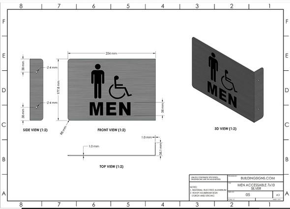 Men ACCESSABLE Restroom Projection - Men ACCESSABLE Restroom 3D  Singange