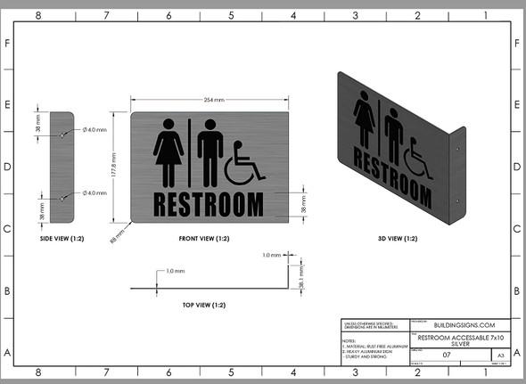 Restroom ACCESSABLE Projection -ACCESSABLE Restroom 3D  Brush Aluminium, Singange