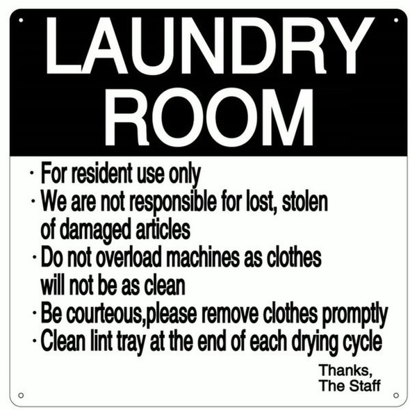 SIGNS LAUNDRY ROOM RULES SIGN (ALUMINUM 14X14)-(ref062020)