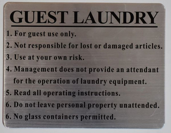 GUEST LAUNDRY SIGN - BRUSHED ALUMINUM