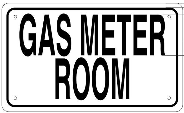 GAS METER ROOM SIGN- WHITE ALUMINUM