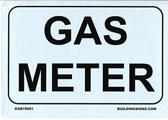 GAS METER SIGN - WHITE (ALUMINUM
