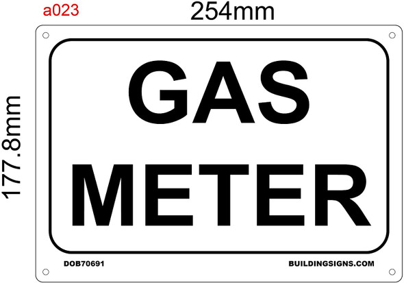 SIGNS GAS METER SIGN - WHITE (ALUMINUM