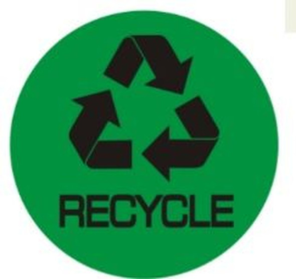 RECYCLE SIGN (STICKER, CIRCLE 4X4, GREEN)-(ref062020)