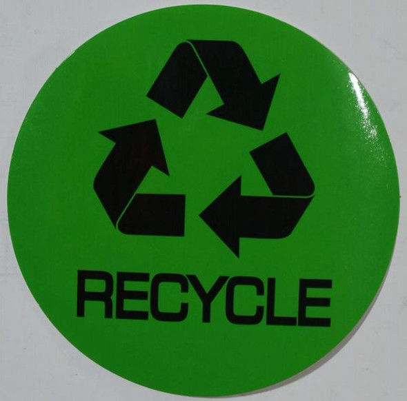 SIGNS RECYCLE SIGN (STICKER, CIRCLE 4X4, GREEN)-(ref062020)