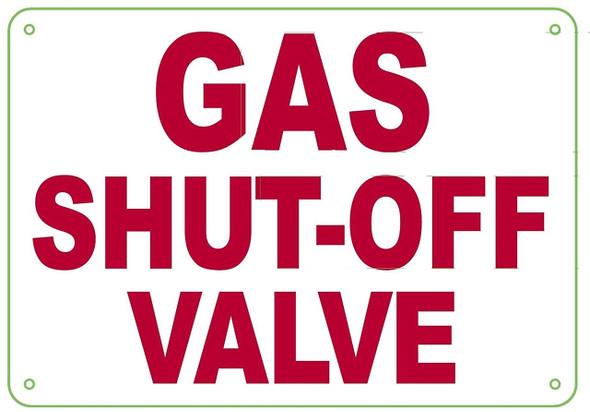 GAS SHUT-OFF VALVE SIGN- WHITE BACKGROUND