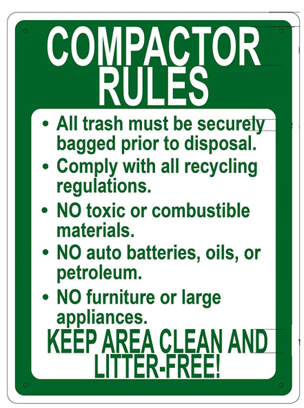 COMPACTOR RULES KEEP AREA CLEAN AND